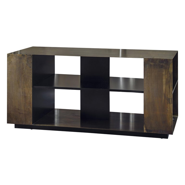 21st Century by Pelizzari Studio Wood Black Lacquered Bookcase Etched Brass Skin For Sale