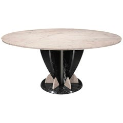 21st Century by Sergio Asti Marble Table in Pink Portugal and Black Marquina