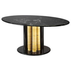 21st Century by Sergio Asti Marble Table in Yellow Travertine and Black Marquina
