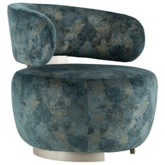 21st Century Caju Armchair Blue, Green Velvet Bronze Powder Champagne Lacquered