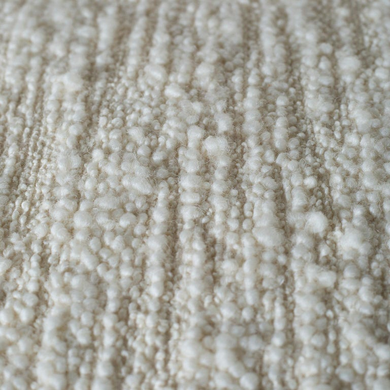 Caju Armchair Rotating Oxidized Brass White Faux Fur White Wool Bouclé Fabric For Sale 2