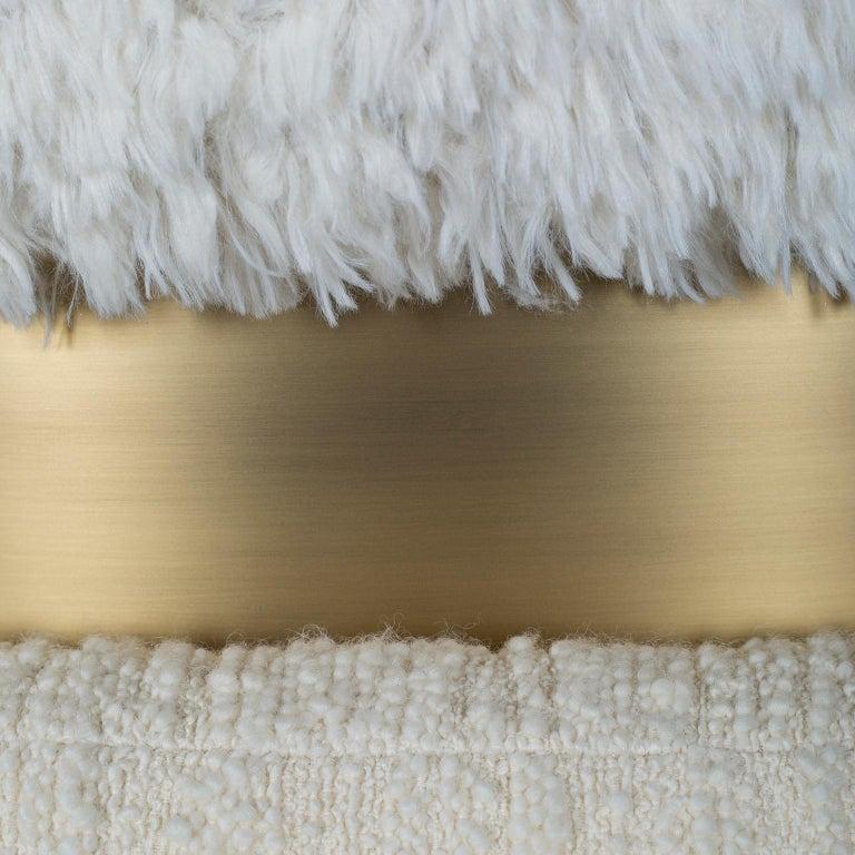 Caju Armchair Rotating Oxidized Brass White Faux Fur White Wool Bouclé Fabric For Sale 3
