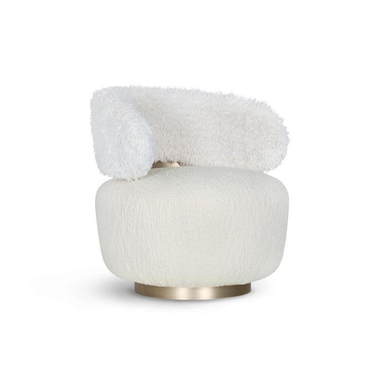 Modern Caju Armchair Rotating Oxidized Brass White Faux Fur White Wool Bouclé Fabric For Sale