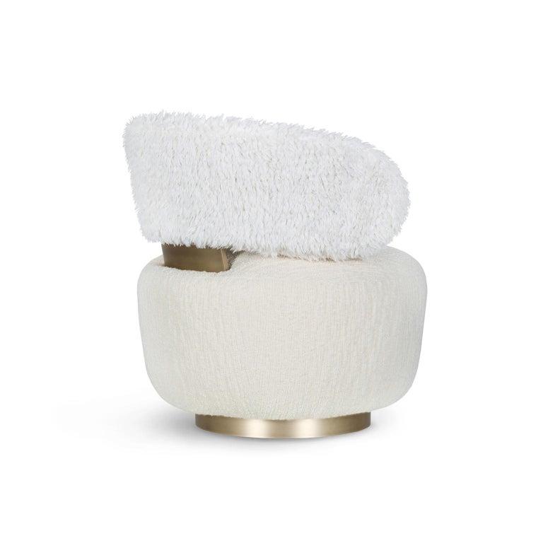Portuguese Caju Armchair Rotating Oxidized Brass White Faux Fur White Wool Bouclé Fabric For Sale