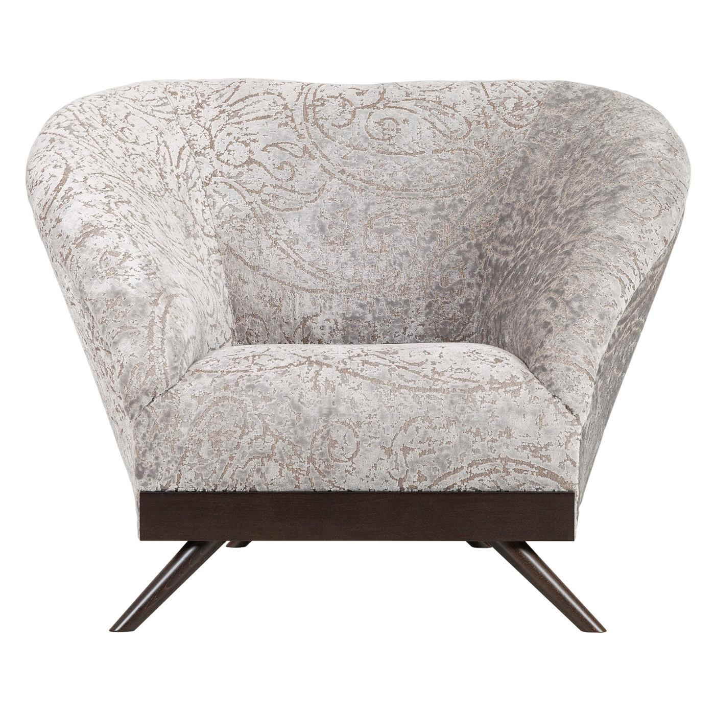 Cambridge Single Seat Sofa Beech Dark Brown Stain Pearl Jacquard Velvet