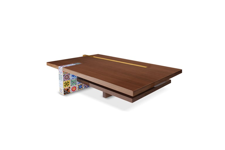 Portuguese 21st Century Camelia Center Table Walnut Wood Layers Hand Painted Tiles For Sale