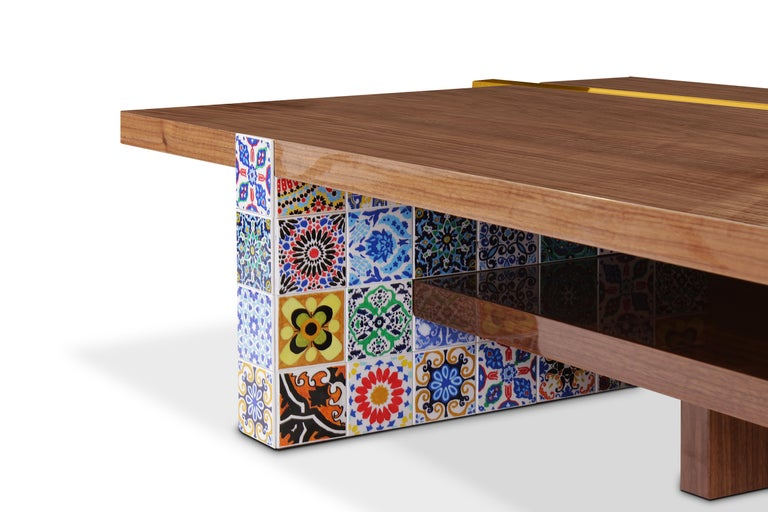 Hand-Painted 21st Century Camelia Center Table Walnut Wood Layers Hand Painted Tiles For Sale