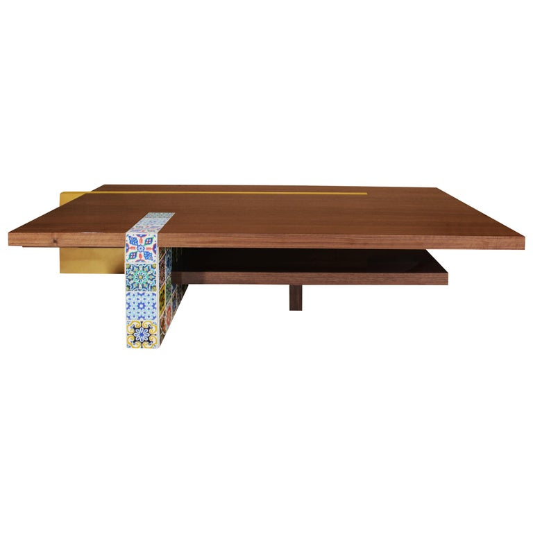 21st Century Camelia Center Table Walnut Wood Layers Hand Painted Tiles For Sale
