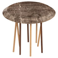 21st Century Canneto Side Table in Marble, Ash, Walnut, Made in Italy