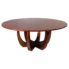 21st Century Canopy Dining Table Wood Veneered Handmade Tabletop