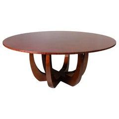 21st Century Canopy Dining Table Wood Veneered Handmade Tabletop
