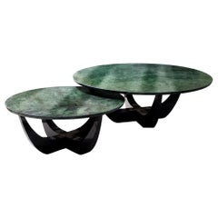 21st Century Canopy Large Center Table Verde Guatemala Marble
