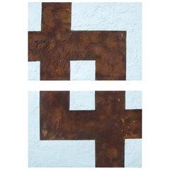 "21st Century Canvas ""Armonía Enfrentada"" by Brutus Art White Brown Oil on Canvas"