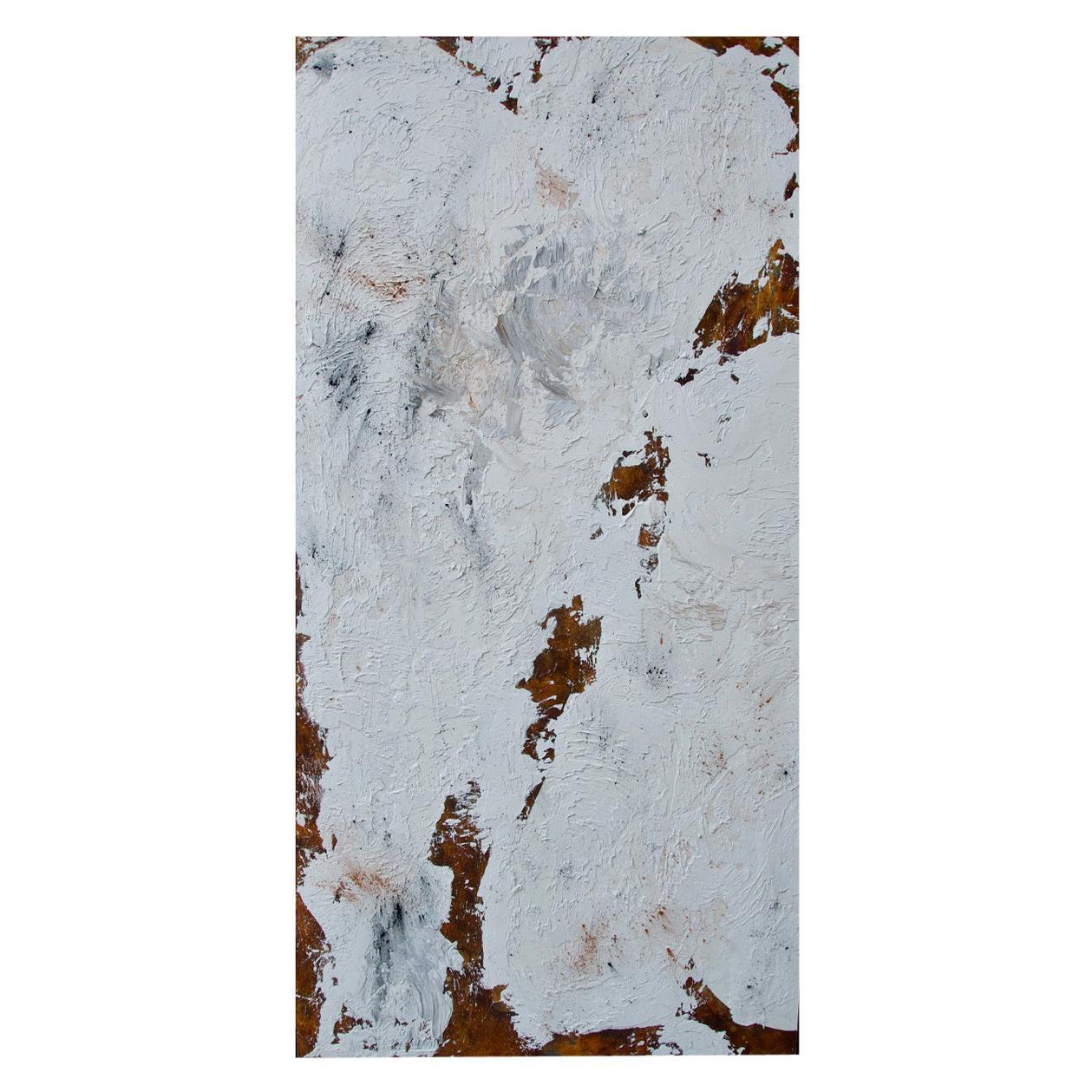 """21st Century Canvas """"Suspiro y latido"""" by Brutus Art White Brown Oil on Canvas"""