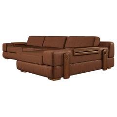 21st Century Canyon Sofa Leather Walnut Wood