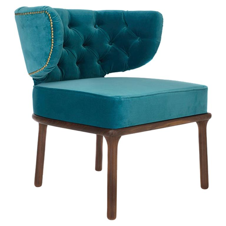 21st Century Capi Dining Chair in Bluish Velvet Upholstery and Walnut Wood