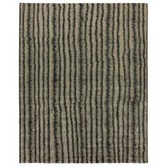 21st Century 'Car Wash' Handwoven Wool Rug in Dark Gray and Beige Stripes