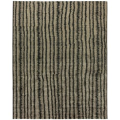 21st Century 'Car Wash' Handwoven Wool Rug in Dark Gray and Beige Stripes
