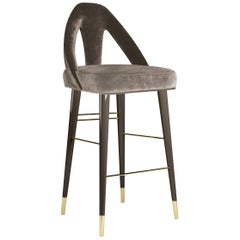 21st Century Caron Bar Chair Cotton Velvet Beechwood