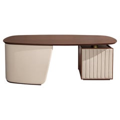 21st Century Carpanese Home Italia Desk with Leather Base Modern, Arthur S