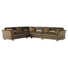 21st Century Carpanese Home Italia Sofa with Wooden Legs Neoclassic, 6443