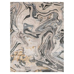 21st Century Carpet Rug Dust in Himalayan Wool and Silk Beige, White, Grey, Gold