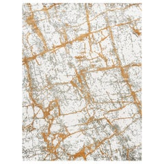 21st Century Carpet Rug Kintsugi in Himalayan Wool and Silk Ivory, Gold, Gray