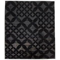 21st Century Carpet Rug Stardust in Himalayan Wool and Silk Black, Grey