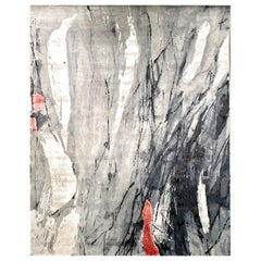 21st Century Carpet Rug the Cloud in Himalayan Wool and Silk Grey, Black, Red