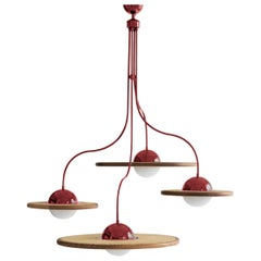 21st Century Cassini Glass Chandelier with Cane, Red