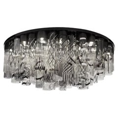 21st Century Ceiling Lamp 38 Lights Black, White, Clear Murano Glass, Multiforme