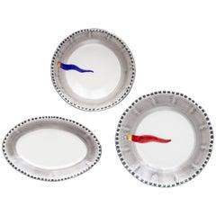 21st Century Ceramic Plates and Bowl salad Serving Made in Italy Vietri Ceramic