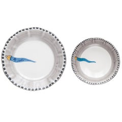 21st Century Ceramic 1 Small Salad Bowl and 1 Round Serving Plate