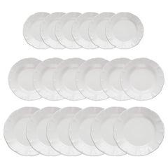 21st Century Ceramic set of 18 plates White Handmade