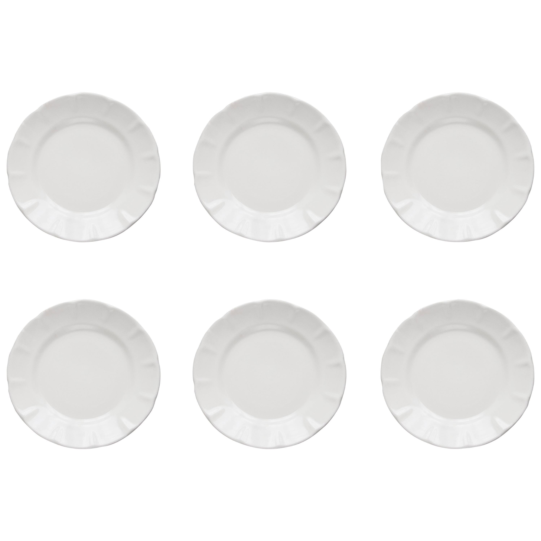 21st Century Ceramic Set of 6 Dinner Plate White Handmade