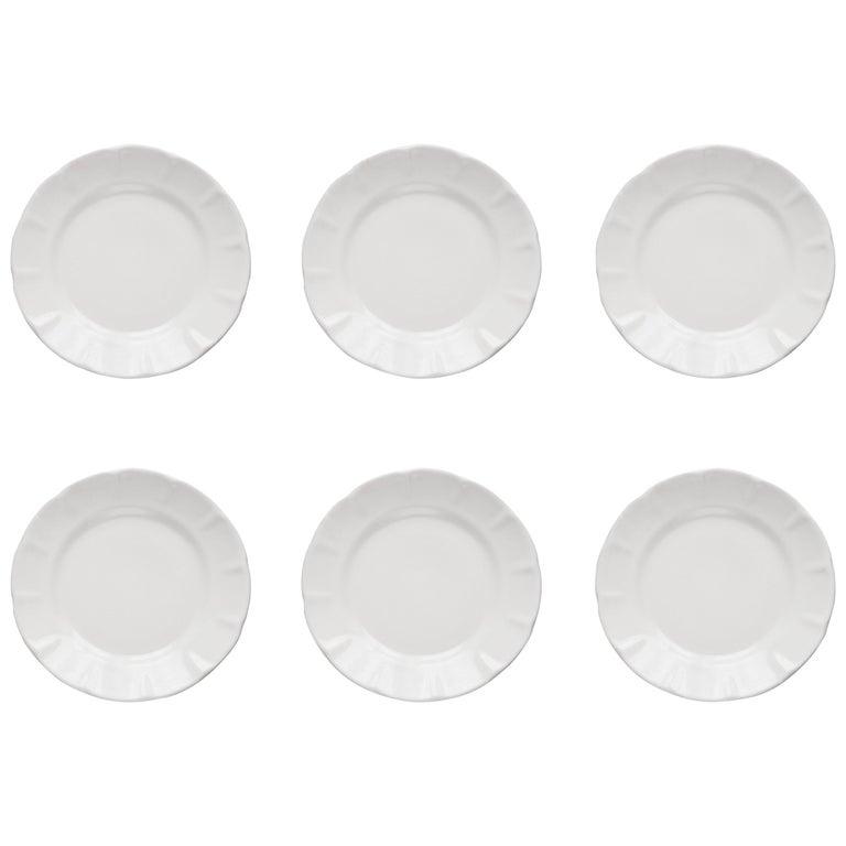 21st Century Ceramic Set of 6 Dinner Plate White Handmade For Sale