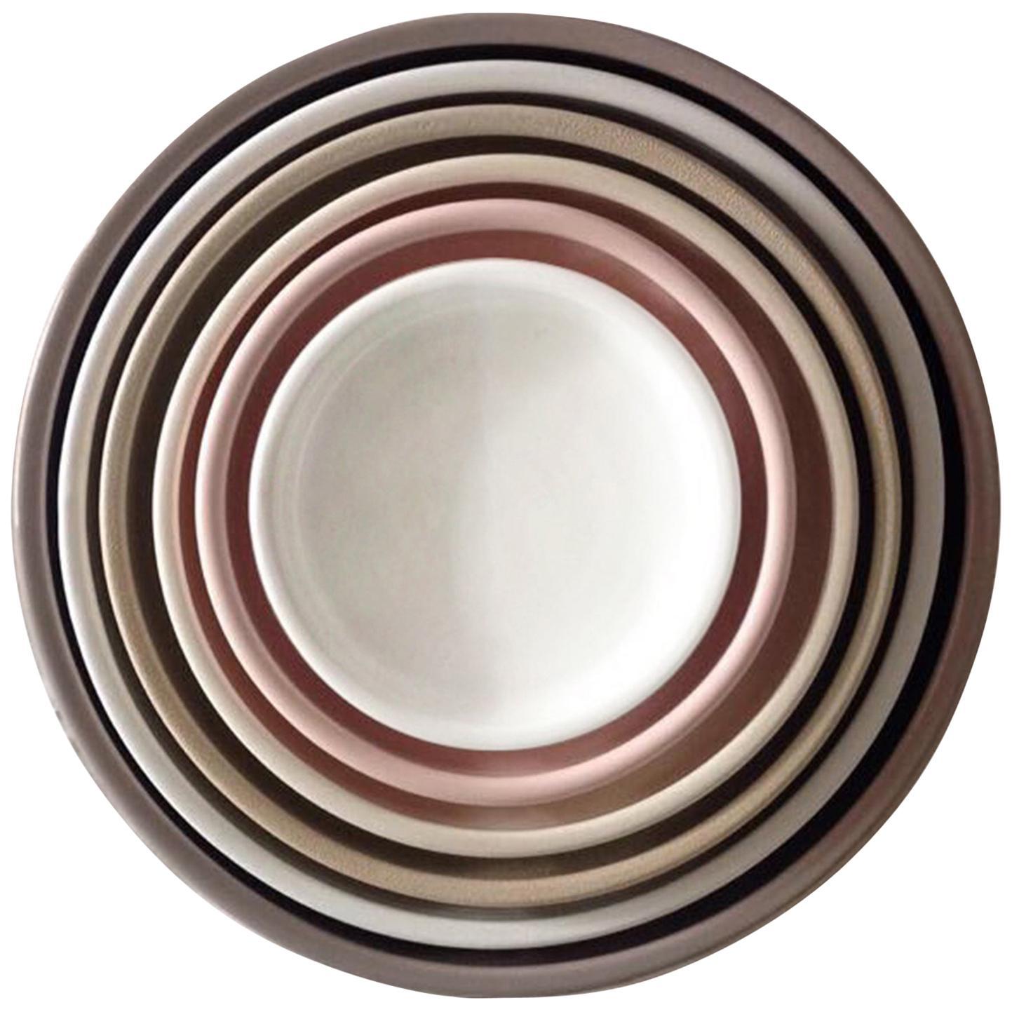 21st Century Ceramic Set of 6 Pieces Serving Plates Neutral Tones Handmade