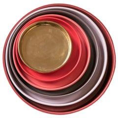 21st Century Ceramic Set of 6 Pieces Serving Plates Warm Tones Handmade