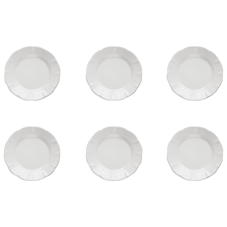 21st Century Ceramic Set of 6 Side Plate White Handmade