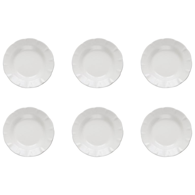 21st Century Ceramic Set of 6 Soup Plate White Handmade For Sale