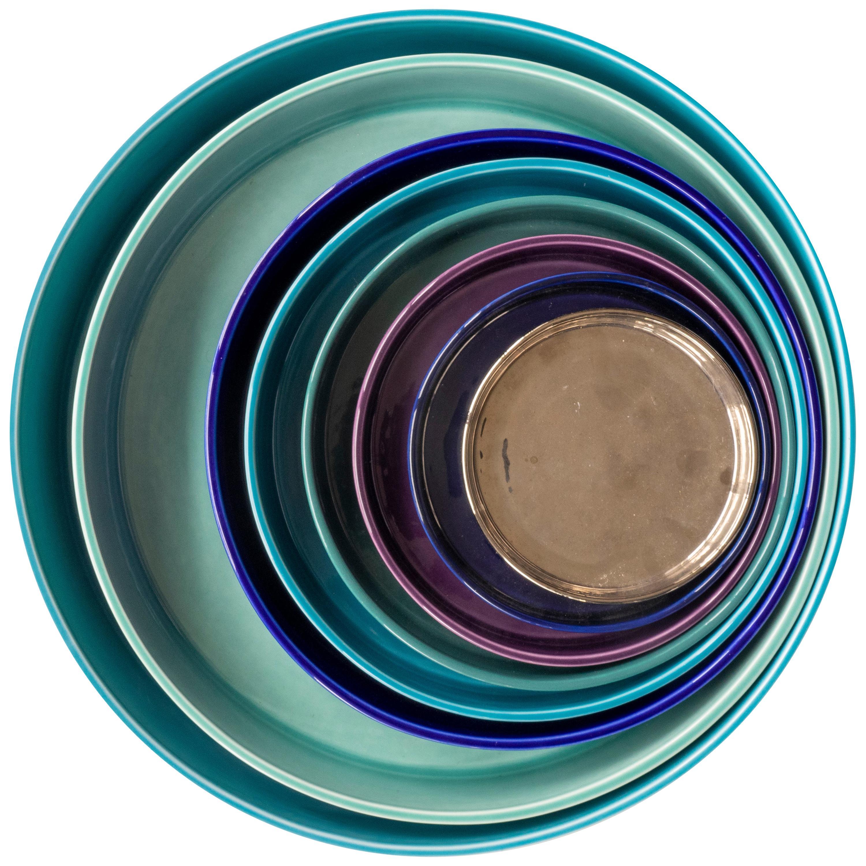 21st Century Ceramic Set of 8 Pieces Serving Plates Cold Tones Handmade