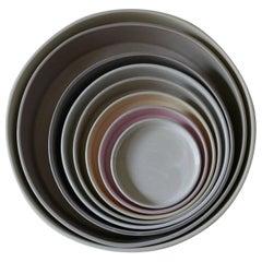 21st Century Ceramic Set of 8 Pieces Serving Plates Neutral Tones Handmade