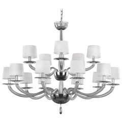 21st Century Chandelier 10+5 Lights Grey Murano Glass by Multiforme
