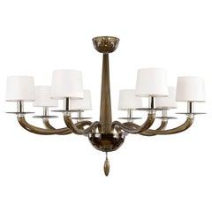 21st Century Chandelier 8 Lights Moka Murano Glass by Multiforme