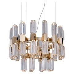 21st Century Chaos Gold-Plated and Clear Crystal Chandelier by Patrizia Garganti