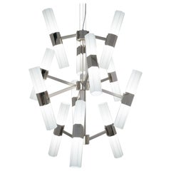 21st Century Chaos Nickel and White Blown Glass Chandelier by Patrizia Garganti