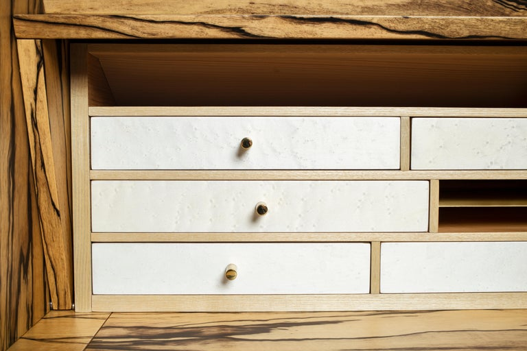 21st Century Charles 10 Desk, White Ebony, White Maple and Brass, Made in Italy For Sale 4