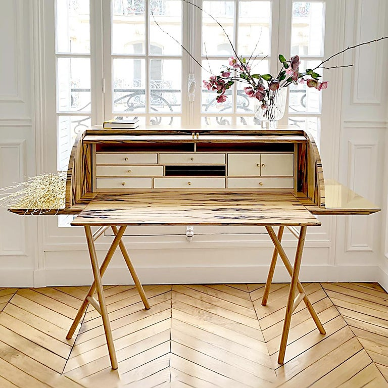 Italian 21st Century Charles 10 Desk, White Ebony, White Maple and Brass, Made in Italy For Sale