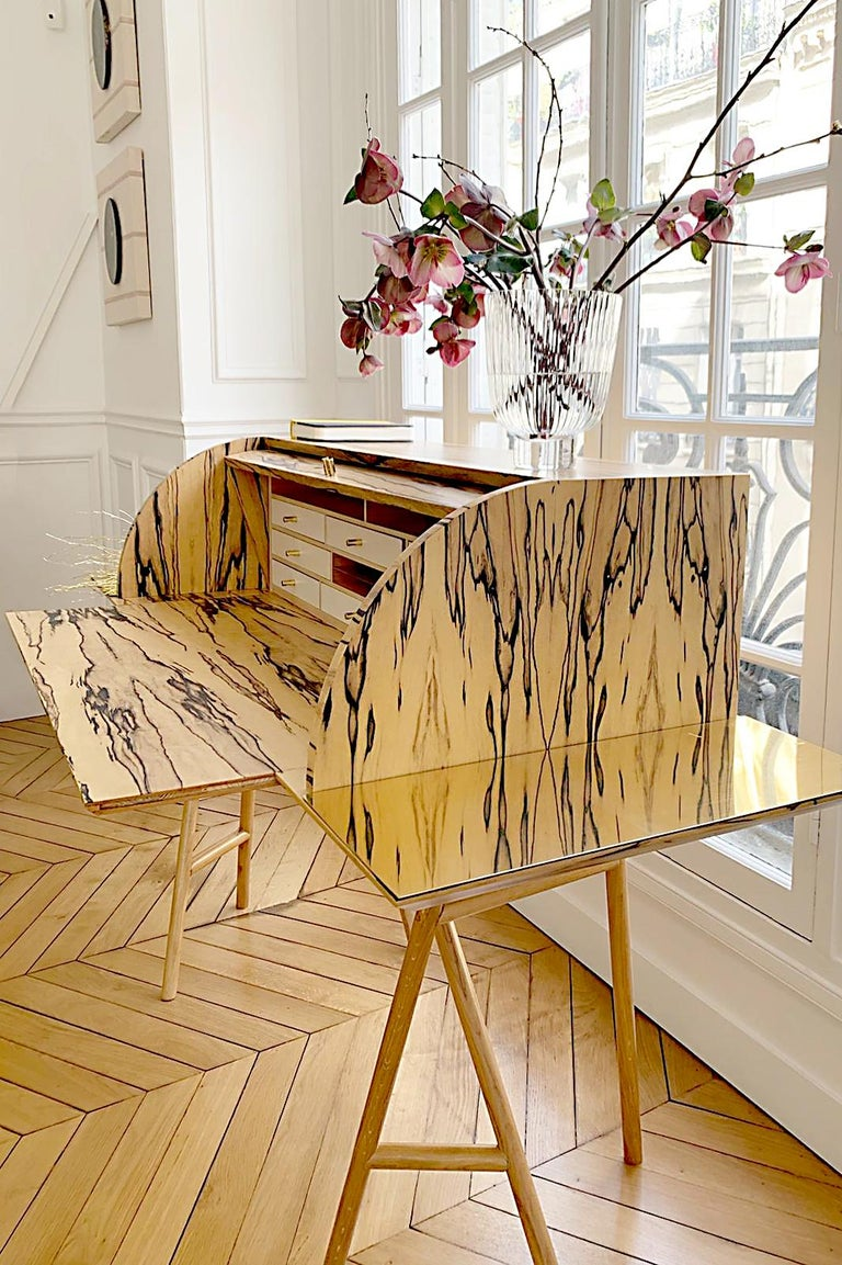 Hand-Crafted 21st Century Charles 10 Desk, White Ebony, White Maple and Brass, Made in Italy For Sale