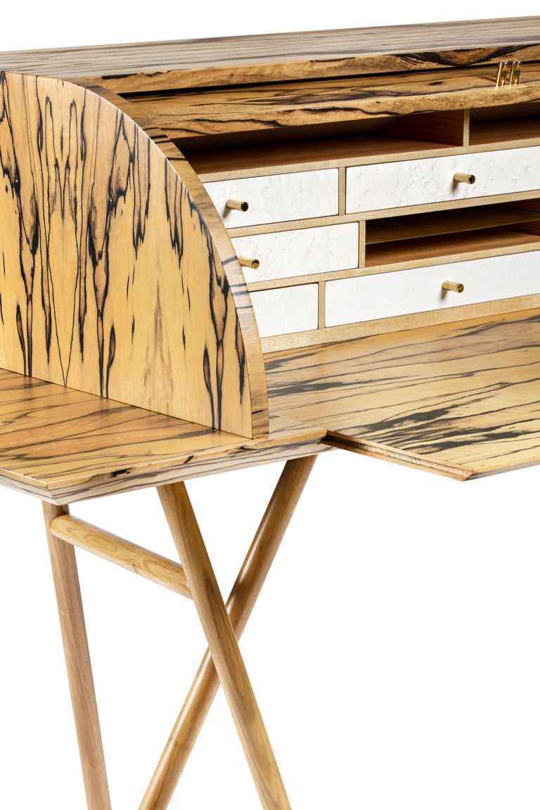 21st Century Charles 10 Desk, White Ebony, White Maple and Brass, Made in Italy In New Condition For Sale In Nocera Superiore, Campania